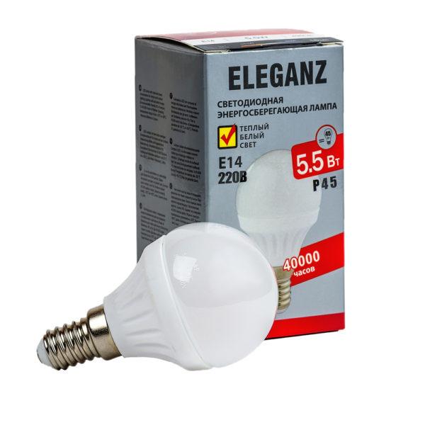 Светодиодная лампа E14 - 5,5Вт шар Eleganz