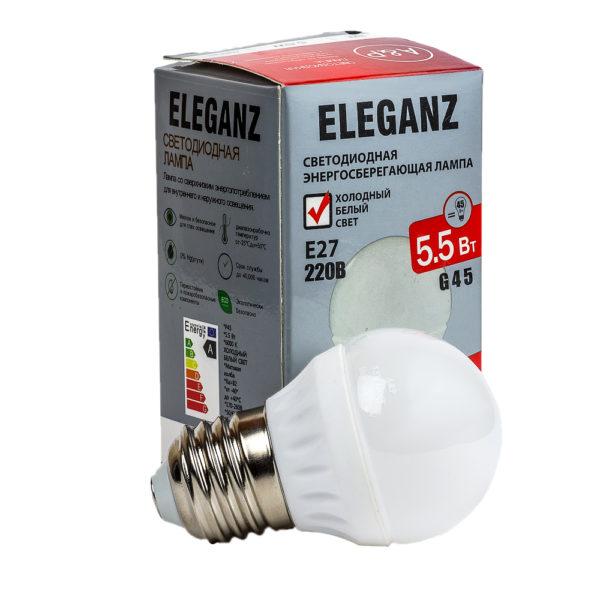 Светодиодная лампа E27 - 5.5Вт шар Eleganz