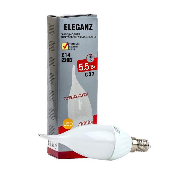 Светодиодная лампа E14 - 5,5Вт свеча на ветру Eleganz